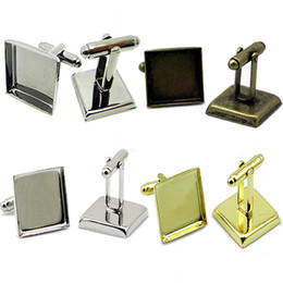 Beadsnice cufflink mounting cufflink component with square bezel trays brass cuff link blanks diy jewelry findings ID 32269