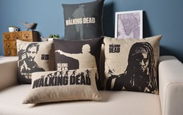 Wholesale Cushion Set THE WALKING DEAD Vintage Linen Cotton Pillow Case Sofa Decorative Pillow Covers Couch Pillowcase Home Decor