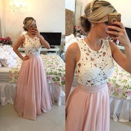 2017 Pink Fuchsia Prom Dresses White Pearls Lace Top Long Evening Party Dresses Crew Neck Sleeveless Formal Evening Dresses
