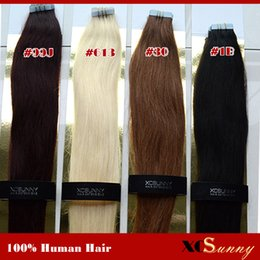 """XCSUNNY 18"""" 20"""" Tape In Hair Extensions Remy 40 pieces 100g Remy Human Hair Tape In Hair Extensions Straight Tape Extension"""