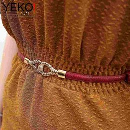 Wholesale YEKO new sweet girls wild serpentine pull adjustment retro ladies thin belt female belt