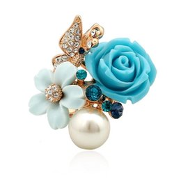 Adjustable Resin And Rhinestone Ring 2019 New Fashion Exquisite Women's Blue Flower Rose Noble White Pearl Rose Gold Terrific garden Ring