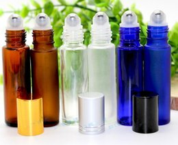 refillable glass Roll on 10ml red green Frosted blue amber clear Small Refillable Empty Glass Bottle Designed For Perfume