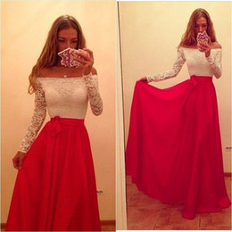 2019 Cheap White and Red Off The Shoulder Prom Dress Long Sleeve Floor Length Sexy Lace Chiffon Evening Gowns Long Party Dress With Sleeves