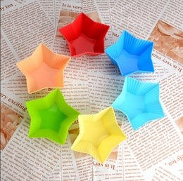 Wholesale Ship Silicone Cake Pan - Free shipping 24PCS Star shape Muffin Sweet Candy Jelly fondant Cake chocolate Mold Silicone tool Baking Pan B072