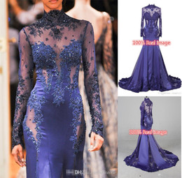 Wholesale See Through Royal Blue Gowns - Cheap Zuhair Murad High Neck Lace Formal Evening Dresses Long Sleeve See-through Beads Appliques Prom Celebrity Gowns Custom Navy Blue 2015