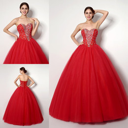 Cheap In Stock Red Quinceanera Dresses 2018 Crystals Sweetheart Ball Gowns Sweet 16 Dress Tulle High Quanlity Vestidos 15 Party Prom Gowns