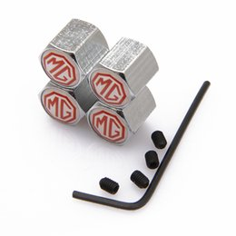 Wholesale Lockable White MG Anti Theft Dust Cap Tire valve caps With Car Logo Badges Emblems White MG With Retail Box SZYX