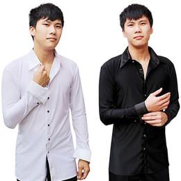 Men Latin Dance Dress Shirt Top Black White Dancewear Plus Size Long Sleeve Dance Dress Tops Clothing For The Waltz Ballroom