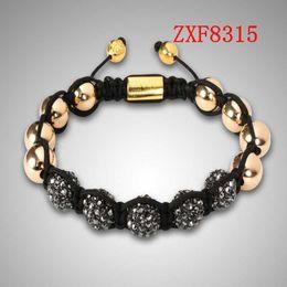 jewelry factory!Nialaya Individuality Best bracelets shamballa gold alloy cool dill Weave adjust High-grad Copper Beads bracelets ZXF8315