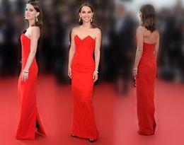Wholesale Natalie Portman Cannes Red Carpet Dresses Shallow Sweetheart Neckline Sheath Floor length Satin Back Split Celebrity Formal Gowns