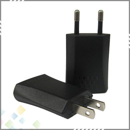 Wholesale Best quality V A USB Travel AC Adapter US EU Plug Wall Home Charger for Electronic Cigarette Black Color DHL Free