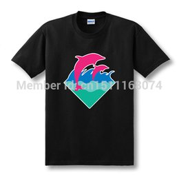 Wholesale-New Summer Fashion Cotton Short Sleeve Streetwear Dolphin Printed T-shirt Hip Hop Pink Dolphin T Shirt Men Top Tees