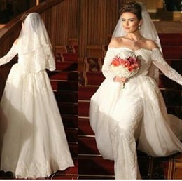 2015 Vintage Off the Shoulder Sheath Long Sleeve Floor Length Lace Wedding Dresses Bridal Gowns Vestidos De Noiva