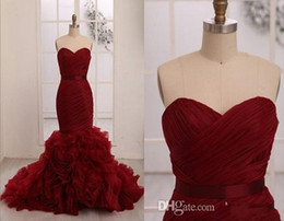 Design Fashion Dark Red Sweetheart Neckline Mermaid Wedding Dresses With Silk Sash Cascading Ruffle Train Exquisite Bridal Gowns No Sleeve