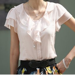 TP11 Celebrity Style Women's Ruffles Front Collar Chiffon Blouse Puff Sleeve Shirts Tops Plus Size S-XL Free Drop Shipping