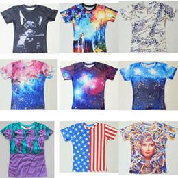 Women Men 3D the firmament outer space T-SHIRT Galaxy Purple Nebula T-Shirt Summer TEE Stars and Stripes US Flag T Shirts tops