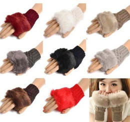 Women Girl Knitted Faux Rabbit Fur gloves Mittens Winter Arm Length Warmer outdoor Fingerless Gloves colorful XMAS gifts DHL free 200pcs