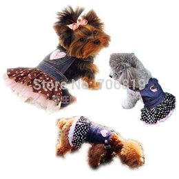 Wholesale Chiffon Denim Material Love Dog Skirt Satin Sequin Embroidered pockets Bamboo and Colored Dots Pet Clothes Puppy Clothing