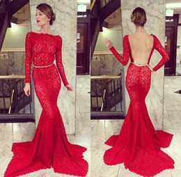 New Style Red Lace Mermaid Evening Dresses Long Sleeve Bateau Neck Backless Sweep Train Long Modern Design Party Dress Custom Made E174