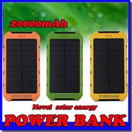 20000mAh Novel solar Power Bank Ultra-thin Waterproof Solar Power Banks 2A Output Cell Phone Portable Charger Solar Powerbank Free shipping