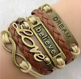 Wholesale Europe and the United States to the ancient charm bracelet LOVE dream words of faith and fashion beautiful leather bracelet