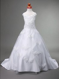 A-line Straps Appliques and Beads Court Train Satin Flower Girl Dress