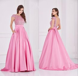 Wholesale Elegant Angela and Alison Pink Prom Dresses A line Jewel Neck Short Sleeve Sweep Train Satin Evening Dress With Stunning Beads