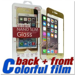 For Iphone 7 6s 6 6plus color plating tempered glass mirror colorful front and back screen protector cellphone colorful film with retail box