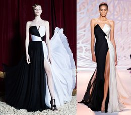 Wholesale prom dresses with Twisted chiffon drape front gown in black and white moon high slit and plunging neckline women party gowns