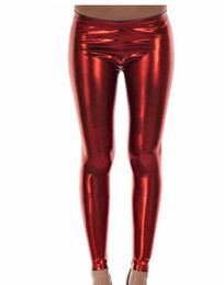 Wholesale Look Punk Casual - PVC Heavy metal and punk rock Ladies Hot Skin Tight Leather Effect red Wet Look Leggings Pants AM1038 UK 8-10