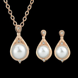 Wholesale Fashion New Gold Color Plated Perolas Imitation Pearl Pendant Necklace And Earrings Wedding Jewelry set for Women
