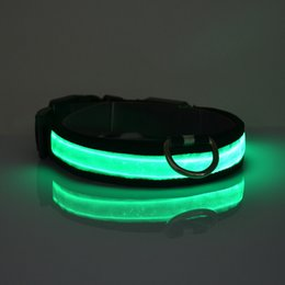 Wholesale LED Light Nylon Color Night Adjustable Flashing Pet Collar For Dog Safety Cat