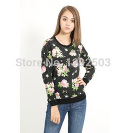 Wholesale New Spring Fall women hoodies sweatshirts overall floral print basic cotton polyester french terry pullover
