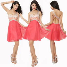 In Stock One Shoulder Homecoming Short Prom Dresses Watermelon Red Crystal Beads Lilac Sexy Cocktail Graduation Party Gowns 2019 Cheap