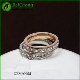 BC Jewelry Top Quality Concise Crystal Ring 18K Rose Gold Plated Crystals Full Sizes Wholesale Stainless steel ring BC-157