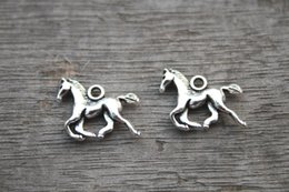 Wholesale 25pcs Horses Charms Antique Tibetan Silver Tone Mother and Baby horse pendants charms x13mm