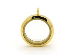 316L Stainless Steel Gold Plain Round Magnetic Glass Memory Locket Charm 30mm and 25mm are available