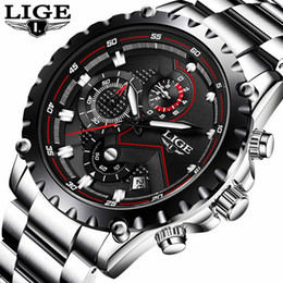 LIGE Luxury Brand Watch Men's Fashion Sports Military Quartz Watches Men's Steel Steel Business Casual Waterproof Clock Men Relogio Masculin