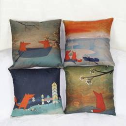 Wholesale-Cartoon Animal Fox Paterns Linen Pillow Case Print StoryThe Little Prince And The Fox Home Decorative Pillow Covers