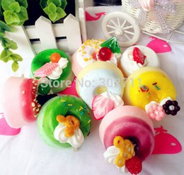 Wholesale Cute Pudding Squishy Cell Phone Charm Fruit Ice Cream Chocolate Toppings