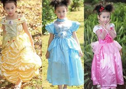 Wholesale beauty and the beast belle dress kids princess sleeping beauty dress carnival kids costume cinderella cosplay dress girls princess in stock
