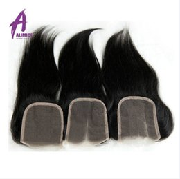 7A Cheap Peruvian Lace Closure Bleached Knots Virgin Human Hair 4*4 Straight Lace Closure Free Middle 3 Part CLosure