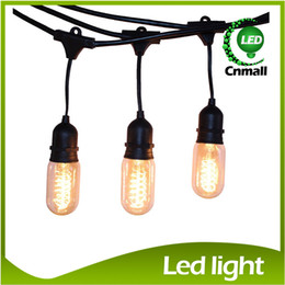 Waterproof Outdoor String Lights with 15*25W 40W Nostalgic Edison Bulbs 48 Feet String Light Edison Bulbs Strings Festival Christmas Lights