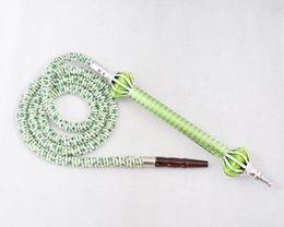 Wholesale High quality Green leopard print M shisha hose lint flannelette hose Shisha Pipe aluminium handle Alloy mouthtip