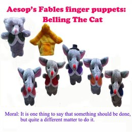 Wholesale Retail World Fairy Tale Aesop s Fable quot Belling The Cat quot Finger Puppet Plush Baby Toys Kids Talking Props