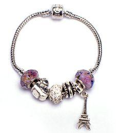 Wholesale Womens s gift Bracelets Jewelry Big Hole Glass Beads Bracelets Jewelry Fashion coloured glaze Beads Bracelets Iron Tower Bracelets