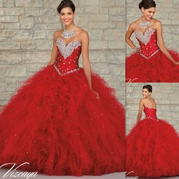 Wholesale Quinceanera Dresses Shops Red Tulle Ball Gowns Sweetheart Beaded Crystals Corset Masquerade Custom Made Dress Brithday New Style