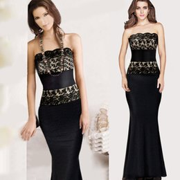 Maxi Long Dresses Evening 2015 Black Lace Gowns Strapless Tee Dress With Disposable Spaghetti Strap Fishtail Dresses