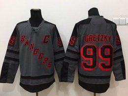 Cheap Hockey Jerseys Mens New York NY Rangers #99 Wayne Gretzky Cross Check Fashion Premier Grey Jersey
